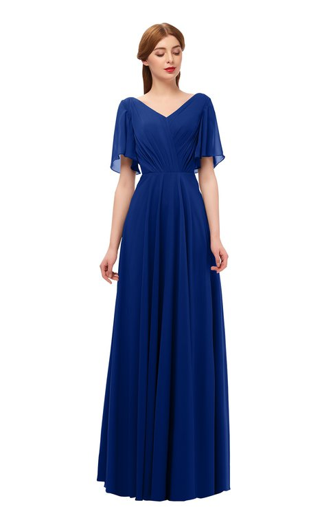 ColsBM Storm Sodalite Blue Bridesmaid Dresses Lace up V-neck Short Sleeve Floor Length A-line Glamorous