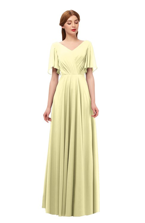 ColsBM Storm Soft Yellow Bridesmaid Dresses Lace up V-neck Short Sleeve Floor Length A-line Glamorous