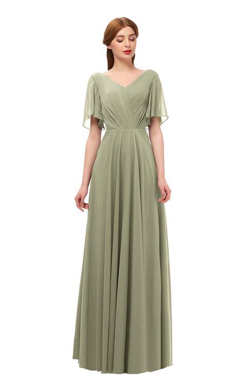 ColsBM Storm Sponge Bridesmaid Dresses Lace up V-neck Short Sleeve Floor Length A-line Glamorous