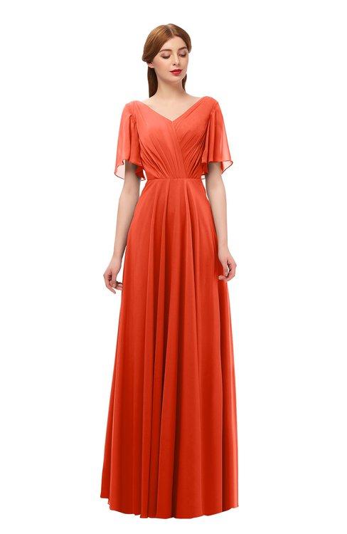 ColsBM Storm Tangerine Tango Bridesmaid Dresses Lace up V-neck Short Sleeve Floor Length A-line Glamorous