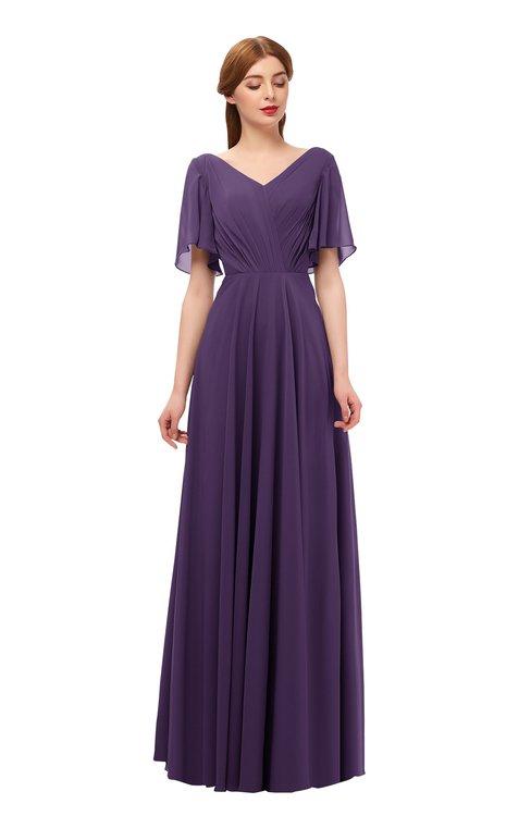 ColsBM Storm Violet Bridesmaid Dresses Lace up V-neck Short Sleeve Floor Length A-line Glamorous