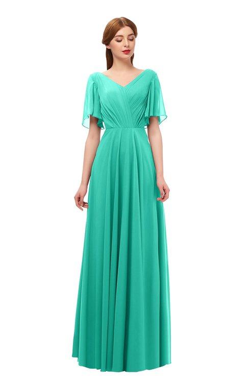 ColsBM Storm Viridian Green Bridesmaid Dresses Lace up V-neck Short Sleeve Floor Length A-line Glamorous
