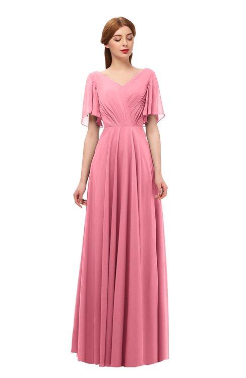 ColsBM Storm Watermelon Bridesmaid Dresses Lace up V-neck Short Sleeve Floor Length A-line Glamorous