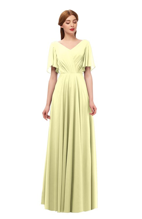 ColsBM Storm Wax Yellow Bridesmaid Dresses Lace up V-neck Short Sleeve Floor Length A-line Glamorous