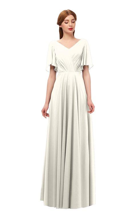 ColsBM Storm Whisper White Bridesmaid Dresses Lace up V-neck Short Sleeve Floor Length A-line Glamorous