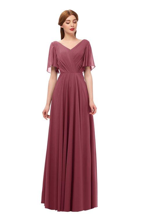 ColsBM Storm Wine Bridesmaid Dresses Lace up V-neck Short Sleeve Floor Length A-line Glamorous