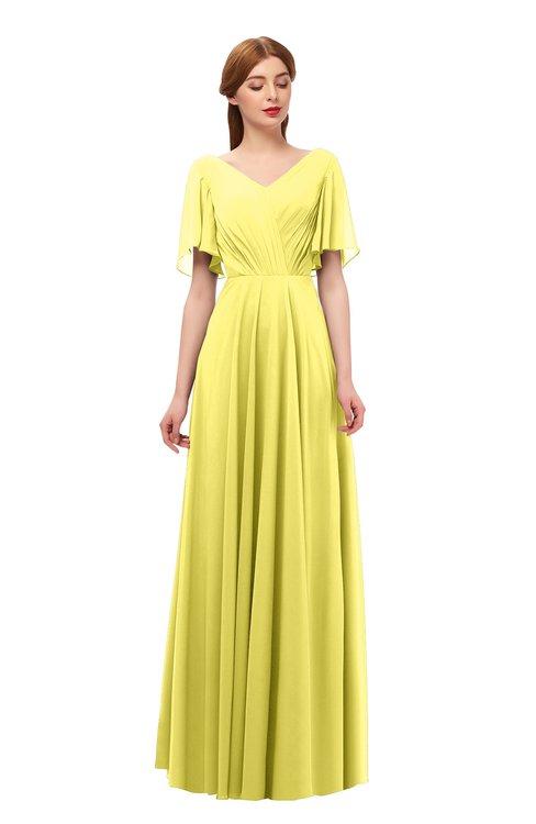 ColsBM Storm Yellow Iris Bridesmaid Dresses Lace up V-neck Short Sleeve Floor Length A-line Glamorous
