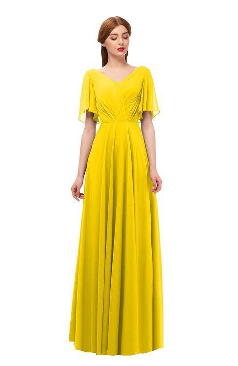 ColsBM Storm Yellow Bridesmaid Dresses Lace up V-neck Short Sleeve Floor Length A-line Glamorous