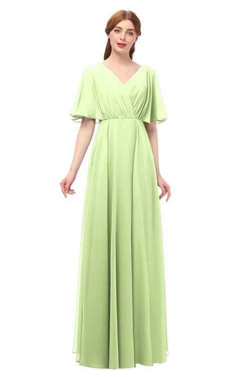 ColsBM Allyn Butterfly Bridesmaid Dresses A-line Short Sleeve Floor Length Sexy Zip up Pleated