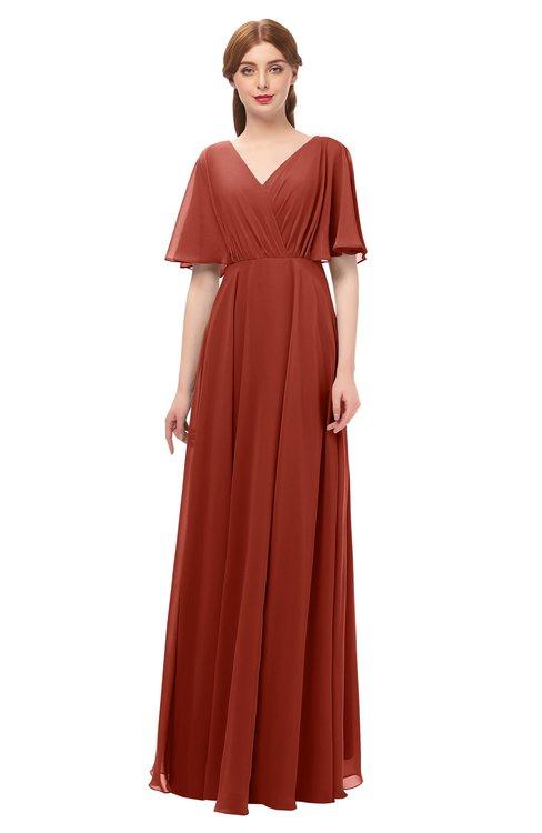 d3ff17accfd2c ... ColsBM Allyn Rust Bridesmaid Dresses A-line Short Sleeve Floor Length  Sexy Zip up Pleated ...