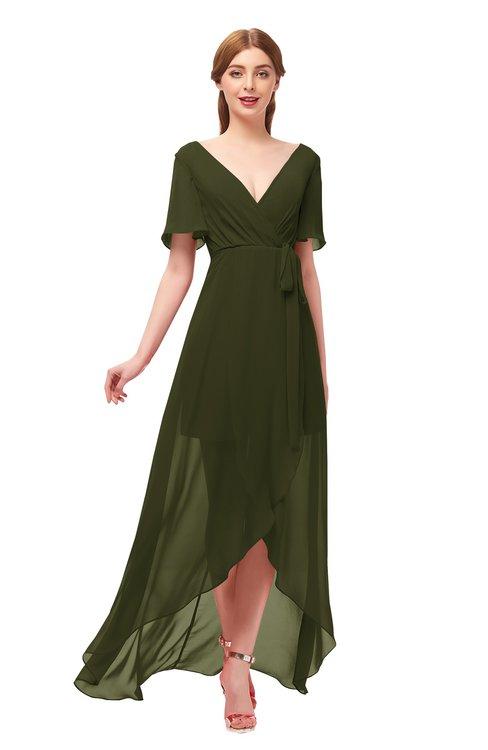 ColsBM Taegan Beech Bridesmaid Dresses Hi-Lo Ribbon Short Sleeve V-neck Modern A-line