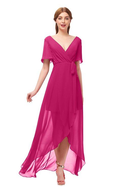 ColsBM Taegan Beetroot Purple Bridesmaid Dresses Hi-Lo Ribbon Short Sleeve V-neck Modern A-line