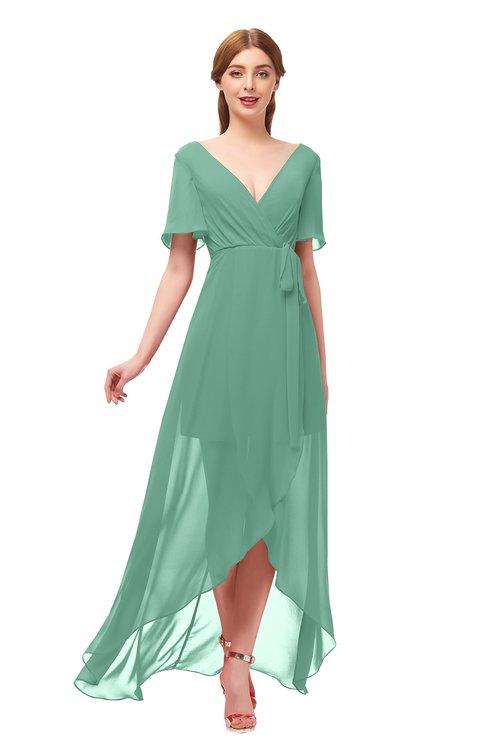 ColsBM Taegan Beryl Green Bridesmaid Dresses Hi-Lo Ribbon Short Sleeve V-neck Modern A-line