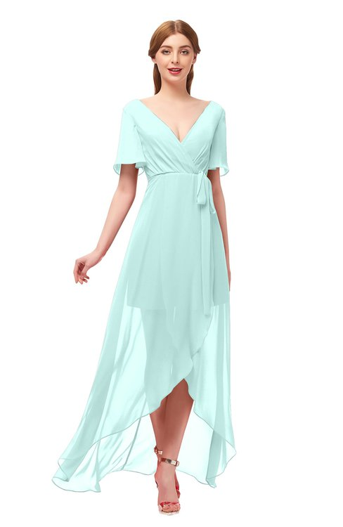 ColsBM Taegan Blue Glass Bridesmaid Dresses Hi-Lo Ribbon Short Sleeve V-neck Modern A-line