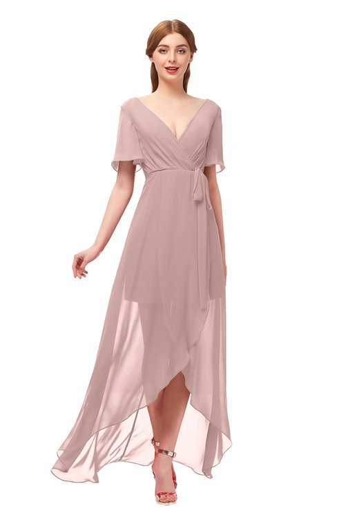 ColsBM Taegan Blush Pink Bridesmaid Dresses Hi-Lo Ribbon Short Sleeve V-neck Modern A-line