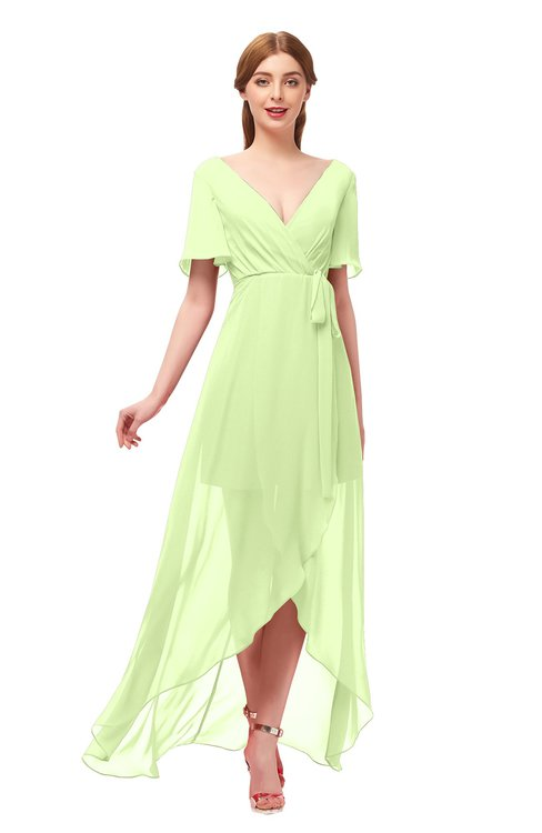 ColsBM Taegan Butterfly Bridesmaid Dresses Hi-Lo Ribbon Short Sleeve V-neck Modern A-line