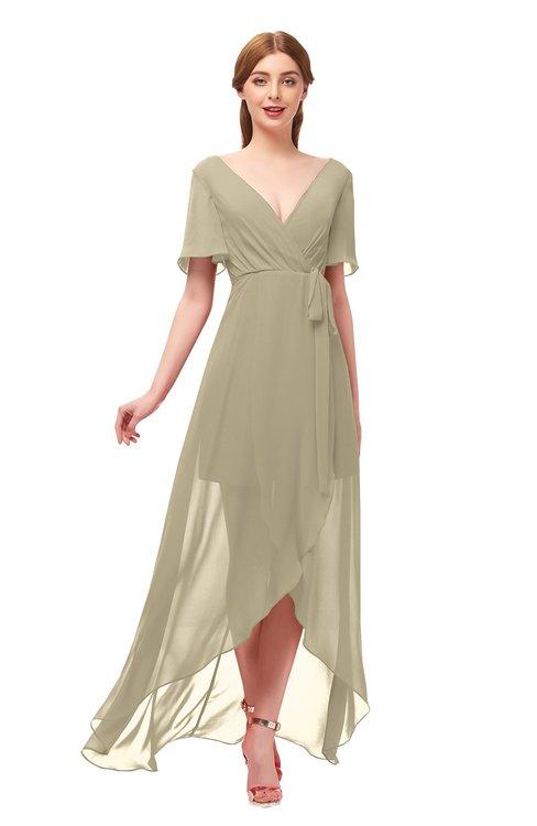 ColsBM Taegan Candied Ginger Bridesmaid Dresses Hi-Lo Ribbon Short Sleeve V-neck Modern A-line