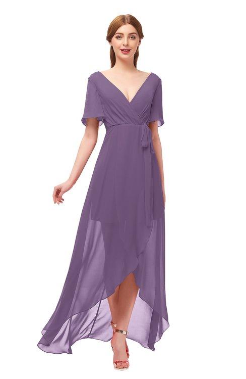ColsBM Taegan Chinese Violet Bridesmaid Dresses Hi-Lo Ribbon Short Sleeve V-neck Modern A-line