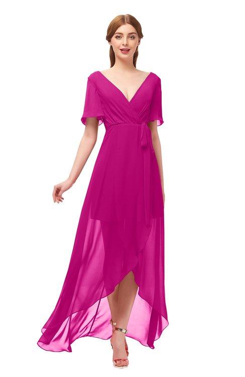ColsBM Taegan Hot Pink Bridesmaid Dresses Hi-Lo Ribbon Short Sleeve V-neck Modern A-line
