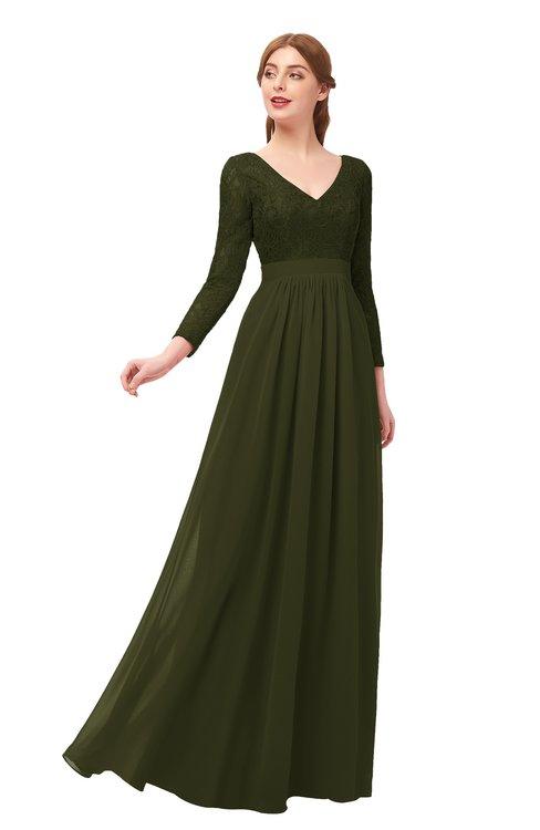 ColsBM Cyan Beech Bridesmaid Dresses Sexy A-line Long Sleeve V-neck Backless Floor Length