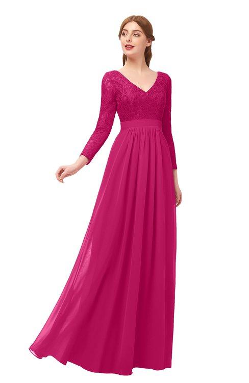 ColsBM Cyan Beetroot Purple Bridesmaid Dresses Sexy A-line Long Sleeve V-neck Backless Floor Length