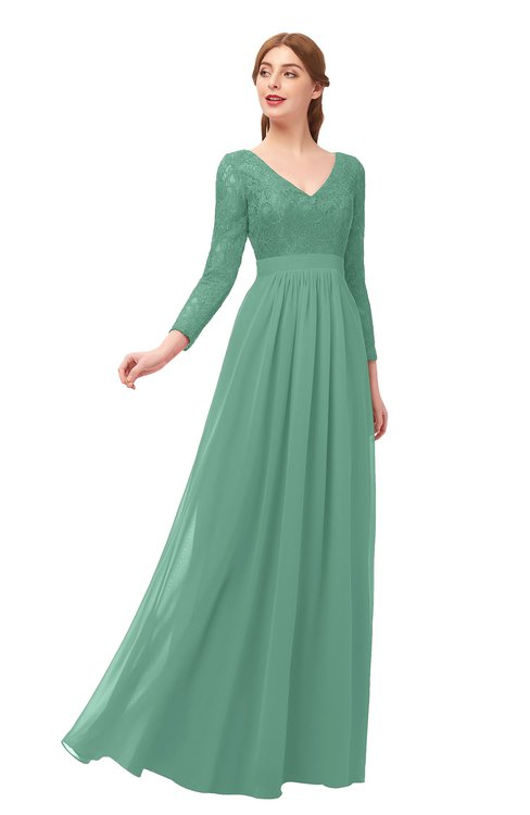 ColsBM Cyan Beryl Green Bridesmaid Dresses Sexy A-line Long Sleeve V-neck Backless Floor Length