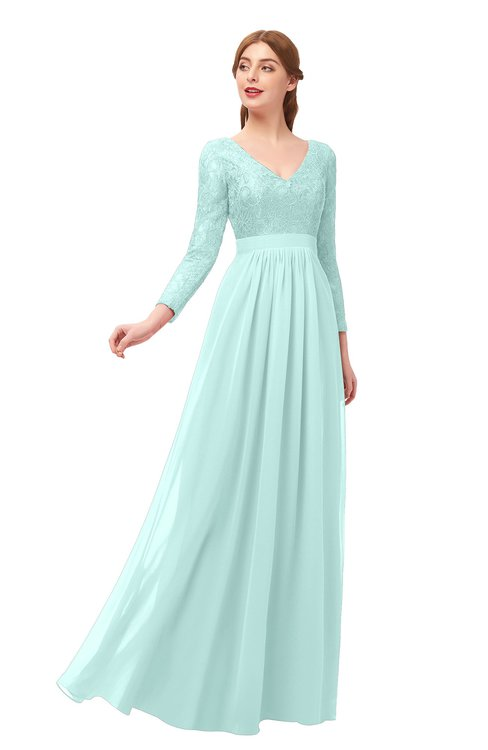 ColsBM Cyan Blue Glass Bridesmaid Dresses Sexy A-line Long Sleeve V-neck Backless Floor Length