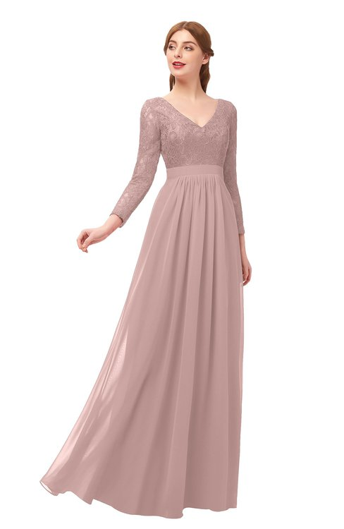 ColsBM Cyan Blush Pink Bridesmaid Dresses Sexy A-line Long Sleeve V-neck Backless Floor Length