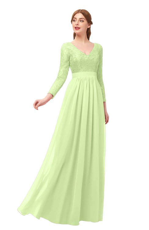 ColsBM Cyan Butterfly Bridesmaid Dresses Sexy A-line Long Sleeve V-neck Backless Floor Length