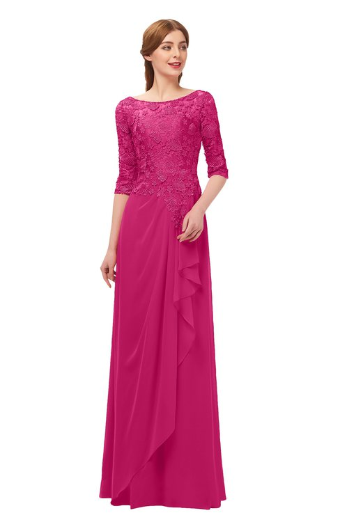 ColsBM Jody Beetroot Purple Bridesmaid Dresses Elbow Length Sleeve Simple A-line Floor Length Zipper Lace