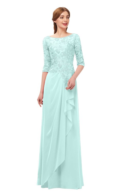 ColsBM Jody Blue Glass Bridesmaid Dresses Elbow Length Sleeve Simple A-line Floor Length Zipper Lace