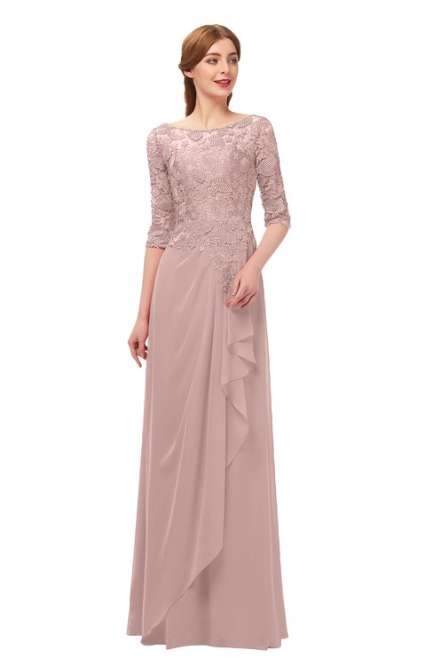 ColsBM Jody Blush Pink Bridesmaid Dresses Elbow Length Sleeve Simple A-line Floor Length Zipper Lace