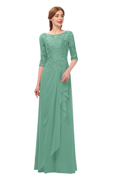 ColsBM Jody Bristol Blue Bridesmaid Dresses Elbow Length Sleeve Simple A-line Floor Length Zipper Lace