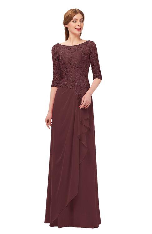 ColsBM Jody Burgundy Bridesmaid Dresses Elbow Length Sleeve Simple A-line Floor Length Zipper Lace