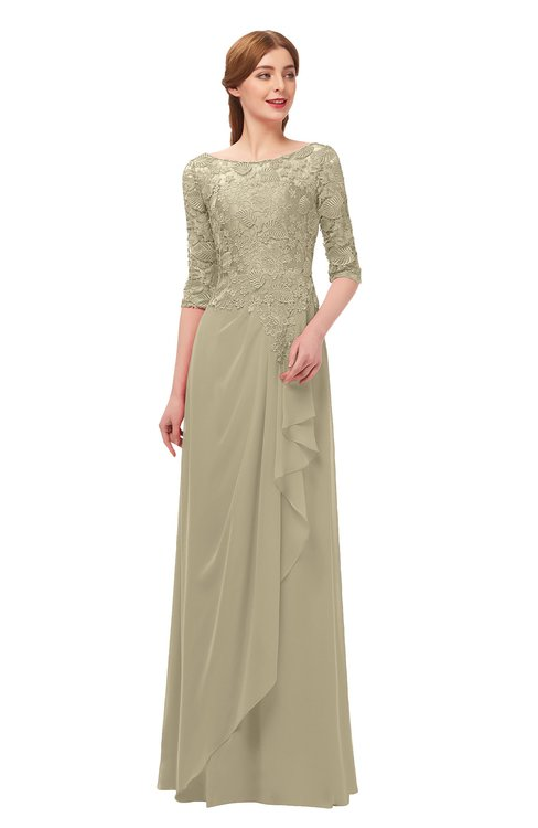 ColsBM Jody Candied Ginger Bridesmaid Dresses Elbow Length Sleeve Simple A-line Floor Length Zipper Lace