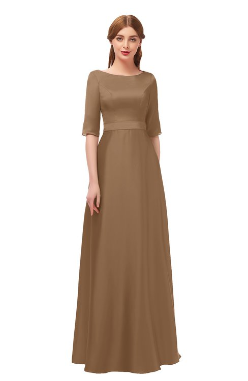ColsBM Silver Bronze Brown Bridesmaid Dresses Mature Floor Length Boat Zip up Sash A-line