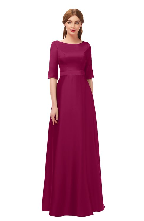 ColsBM Silver Cerise Bridesmaid Dresses Mature Floor Length Boat Zip up Sash A-line