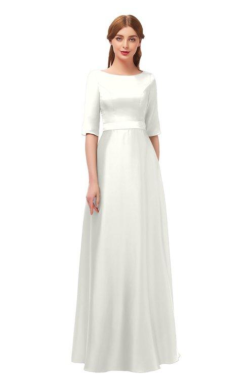 ColsBM Silver Ivory Bridesmaid Dresses Mature Floor Length Boat Zip up Sash A-line