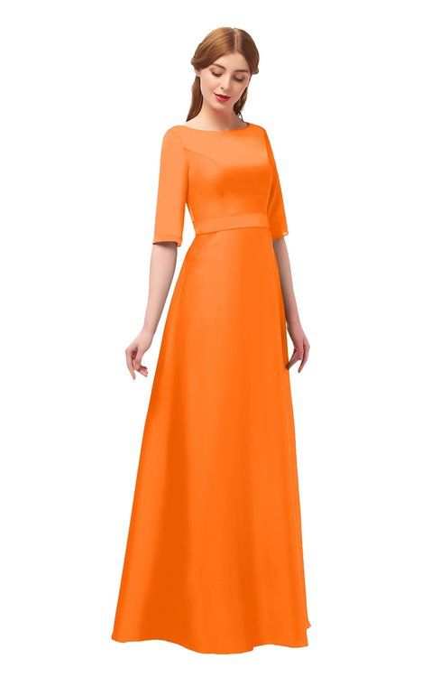 cfa15343ce7 ... ColsBM Silver Orange Bridesmaid Dresses Mature Floor Length Boat Zip up  Sash A-line ...