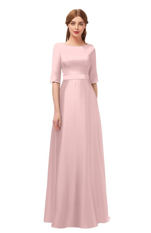 ColsBM Silver Pastel Pink Bridesmaid Dresses Mature Floor Length Boat Zip up Sash A-line