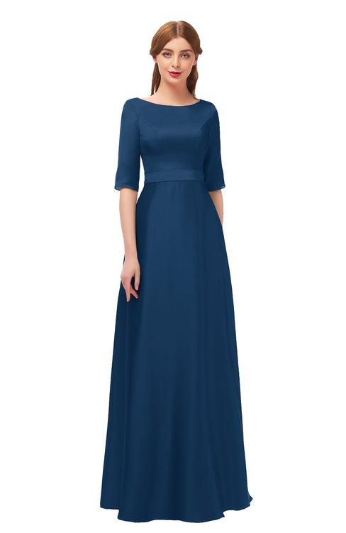 ColsBM Silver Twilight Blue Bridesmaid Dresses Mature Floor Length Boat Zip up Sash A-line