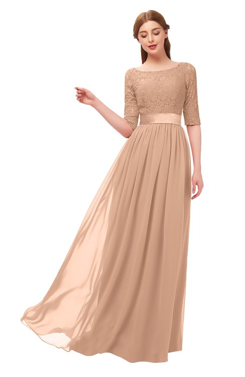 ColsBM Payton Almost Apricot Bridesmaid Dresses Sash A-line Modest Bateau Half Length Sleeve Zip up