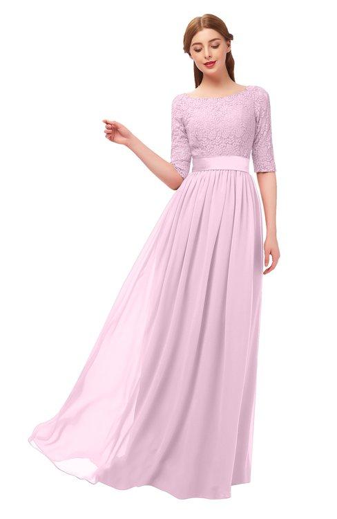 ColsBM Payton Baby Pink Bridesmaid Dresses Sash A-line Modest Bateau Half Length Sleeve Zip up