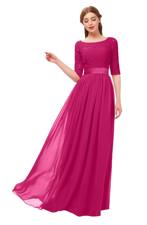 ColsBM Payton Beetroot Purple Bridesmaid Dresses Sash A-line Modest Bateau Half Length Sleeve Zip up
