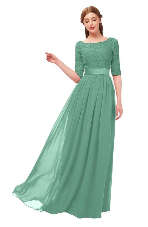 ColsBM Payton Beryl Green Bridesmaid Dresses Sash A-line Modest Bateau Half Length Sleeve Zip up