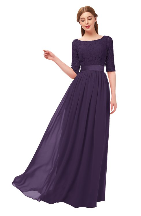 ColsBM Payton Blackberry Cordial Bridesmaid Dresses Sash A-line Modest Bateau Half Length Sleeve Zip up