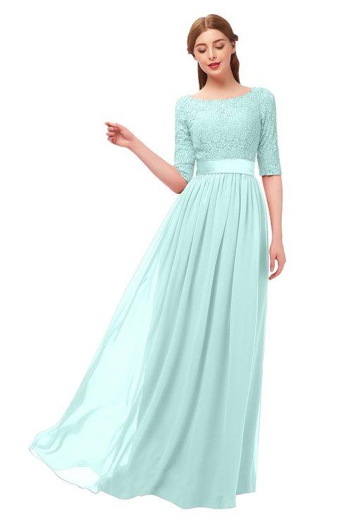 ColsBM Payton Blue Glass Bridesmaid Dresses Sash A-line Modest Bateau Half Length Sleeve Zip up
