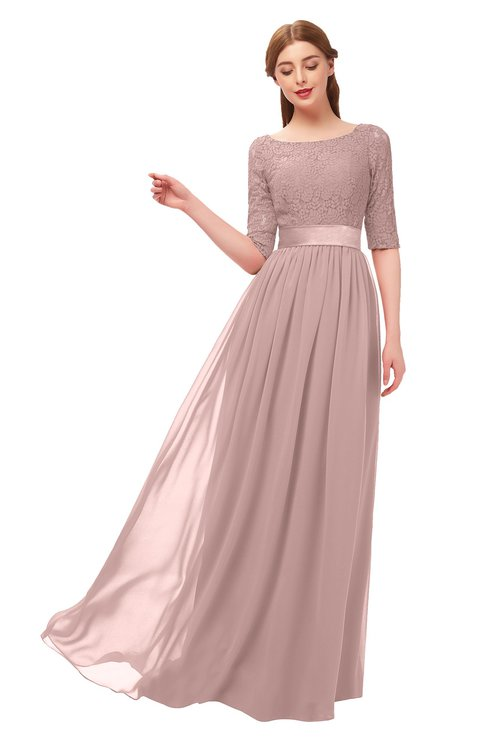 ColsBM Payton Blush Pink Bridesmaid Dresses Sash A-line Modest Bateau Half Length Sleeve Zip up