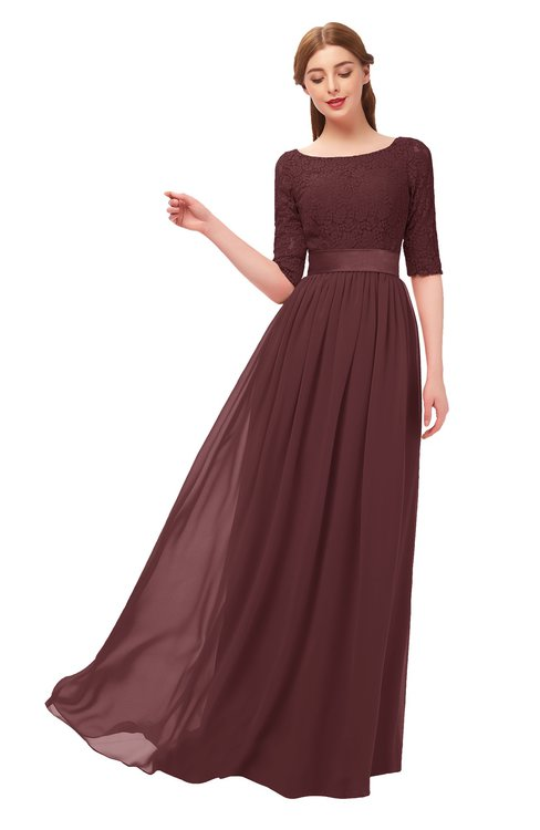 ColsBM Payton Burgundy Bridesmaid Dresses Sash A-line Modest Bateau Half Length Sleeve Zip up