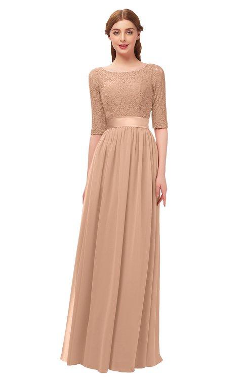 7c12513c08d0 ... ColsBM Payton Burnt Orange Bridesmaid Dresses Sash A-line Modest Bateau  Half Length Sleeve Zip ...